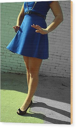 High Heels And A Blue Skirt Wood Print