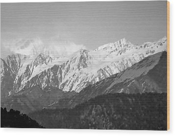 High Himalayas - Black And White Wood Print by Kim Bemis