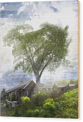 High In The Clouds Wood Print by Debra and Dave Vanderlaan