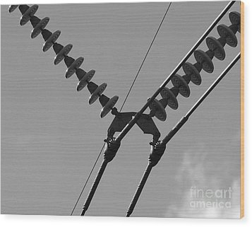 Wood Print featuring the photograph High Power Lines - 3 by Kenny Glotfelty