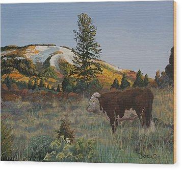 High Range Bull Wood Print