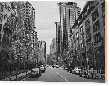 high rise apartment condo blocks in the west end west pender street Vancouver BC Canada Wood Print by Joe Fox