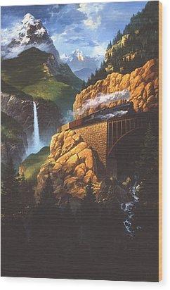 Wood Print featuring the painting High Run by Tom Wooldridge