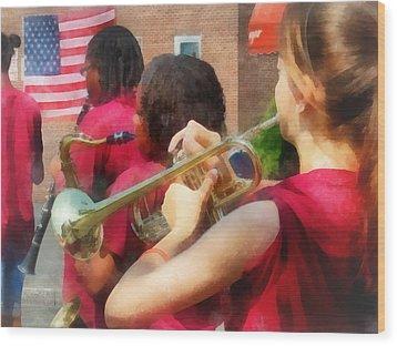 High School Band At Parade Wood Print by Susan Savad