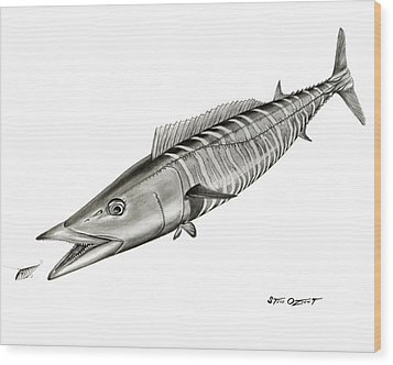 High Speed Wahoo Wood Print by Steve Ozment