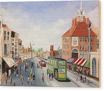 Wood Print featuring the painting High Street by Helen Syron