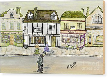 Wood Print featuring the painting High Street by Loredana Messina