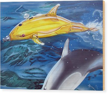 High Tech Dolphins Wood Print