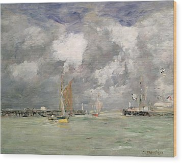 High Tide At Trouville Wood Print by Eugene Louis Boudin