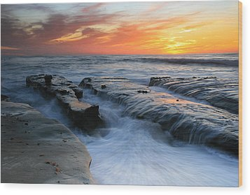 High Tide Sunset 2 Wood Print