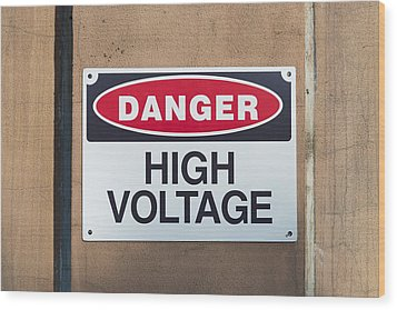 High Voltage Sign Wood Print by Hans Engbers