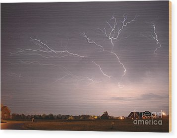 High Voltage Wood Print by Steven Townsend