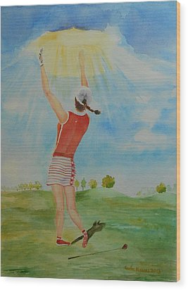 Highest Calling Is God Next Golf Wood Print by Geeta Biswas