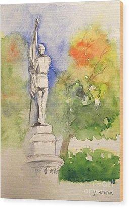 Highland Cemetery-plein Air-ypsilanti Michigan 1 Wood Print by Yoshiko Mishina