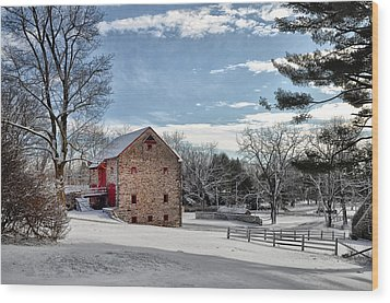 Highland Farms In The Snow Wood Print by Bill Cannon