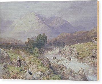 Highland Scene Near Dalmally Argyll Wood Print by Myles Birket Foster