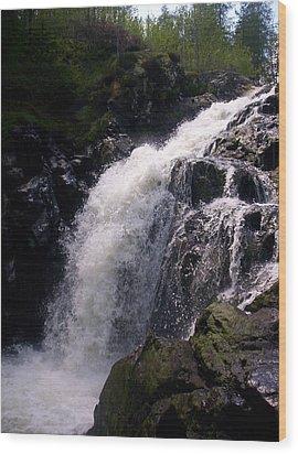 Highland Waterfall Wood Print by R McLellan