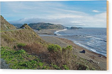 Highway 1 Near Outlet Of Russian River Into Pacific Ocean Near Jenner-ca  Wood Print