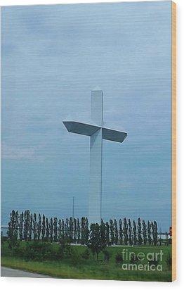 Highway Cross Wood Print by Brigitte Emme