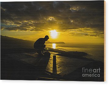 Wood Print featuring the photograph Hiker @ Diamondhead by Angela DeFrias