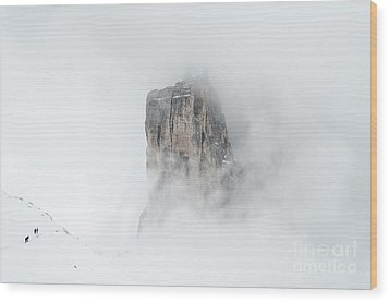Hiking The Tre Cime In Winter Wood Print