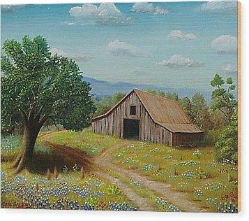 Hill Country Barn   Wood Print