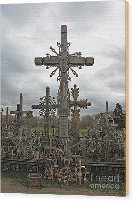Hill Of Crosses 06. Lithuania.  Wood Print by Ausra Huntington nee Paulauskaite