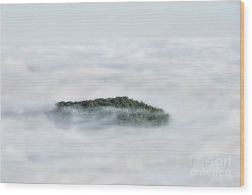 Hill Top Island In The Clouds Wood Print by Dan Friend