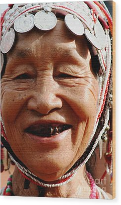 Wood Print featuring the photograph Hill Tribe Smile by Nola Lee Kelsey