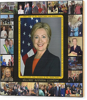 Hillary Rodham Clinton        Wood Print by James William Allen