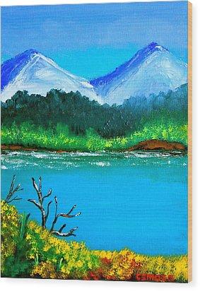 Hills By The Lake Wood Print