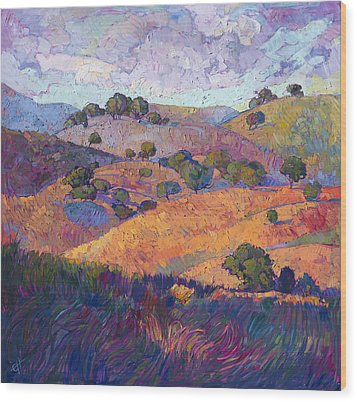 Hills Of Paso Wood Print by Erin Hanson