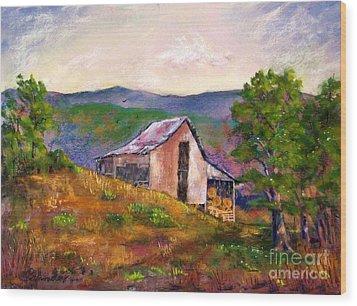 Hillside Barn Wood Print by Bruce Schrader