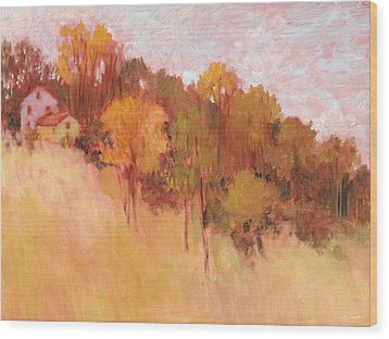 Hillside Trees Wood Print