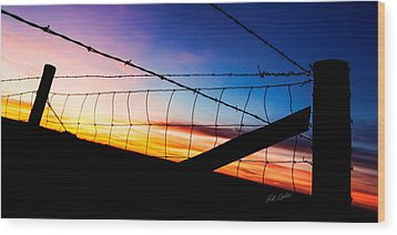 Hilltop Sunset Wood Print