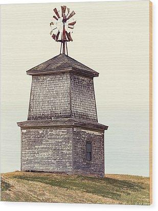 Hilltop Windmill Wood Print by Richard Bean