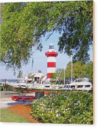 Hilton Head Lighthouse And Marina Wood Print