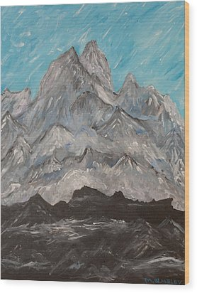Wood Print featuring the painting Himalayas by Martin Blakeley
