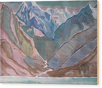 Wood Print featuring the painting Himalayas by Vikram Singh