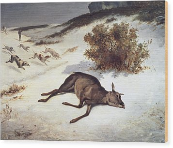 Hind Forced Down In The Snow Wood Print by Gustave Courbet