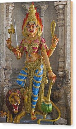 Hindu Goddess Durga On Lion Wood Print by David Gn