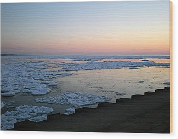 Wood Print featuring the photograph Hints Of Spring South Haven Pier by Penny Hunt