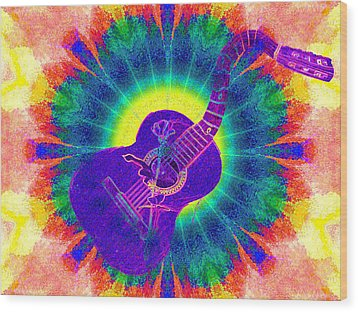 Hippie Guitar Wood Print by Bill Cannon