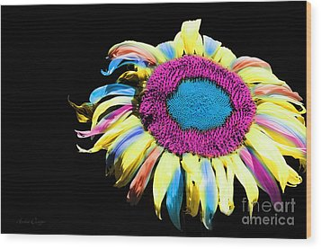 Hippie Sunflower Rainbow Painterly Wood Print by Andee Design