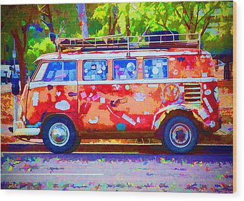 Wood Print featuring the photograph Hippie Van by Jaki Miller