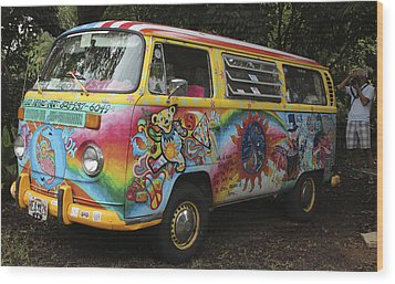 Vintage 1960's Vw Hippie Bus Wood Print by Venetia Featherstone-Witty