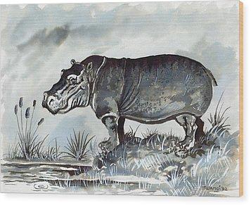 Hippo Wood Print by Anthony Mwangi