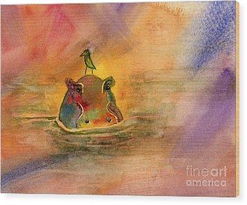 Hippo Birdie Wood Print by Amy Kirkpatrick
