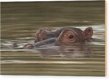 Hippo Painting Wood Print