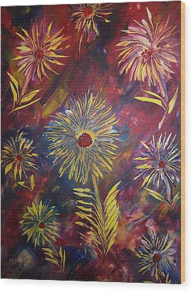 Wood Print featuring the painting Hippy Flowers by Nico Bielow